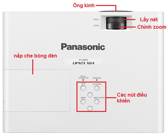 may chieu panasonic pt lb423 tren